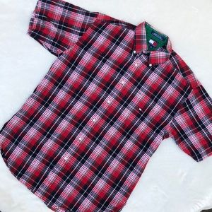 Tommy Hilfiger red plaid short sleeve button up